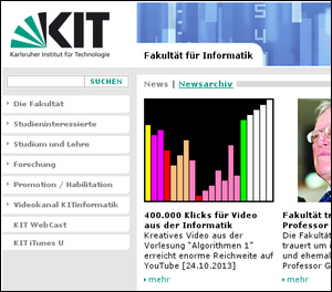 Screenshot of KIT Informatik Webpage