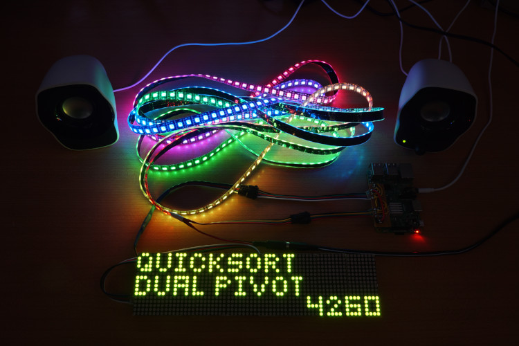 BlinkenSort with Sound on Raspberry Pi 3 with APA102 or SK9822 LEDs